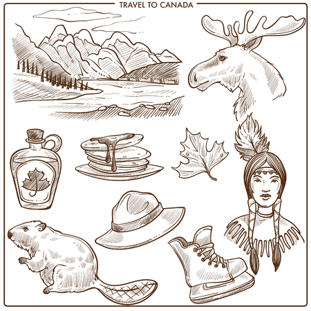 Canada travel tourism landmarks and culture symbols sketch.