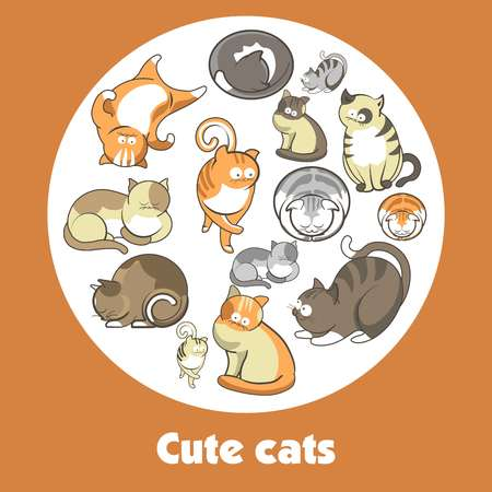 Cartoon cute cats and funny kittens vector poster