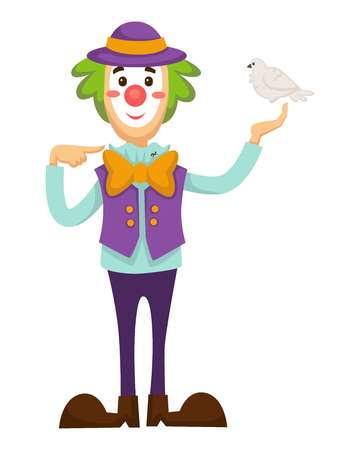 Clown vector circus trick with dove bird in hand Illustration