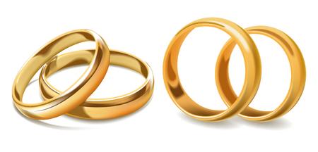 Icônes 3d de vecteur de bagues de mariage d'or Vecteurs
