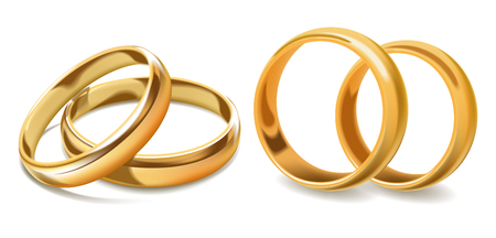 Golden wedding rings vector 3d icons