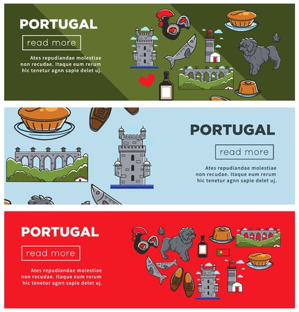 Portugal travel banners of famous Portuguese landmarks and culture art symbols. Vector Portugal flag, cuisine food and drink, Lisbon rooster or dog, sardine or Porto wine