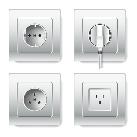 Sockets and electric plug outlets vector 3D realistic icons of different plug types with two or three inlets and grounding