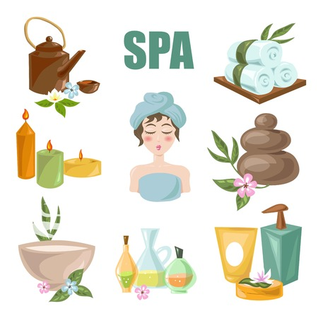 Beauty SPA salon and wellness center treatments icons. Vector woman skincare and body relax aroma oils, towels and moisturizer creams, maaaage stones and bath soap