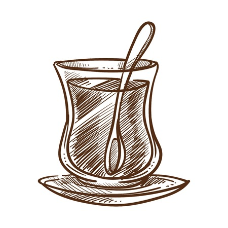Traditional Turkish beverage tea in small glass cup and plate. Aromatic drink prepared according to oriental recipes. Mug with spoon inside, natural liquid monochrome sketch vector illustration