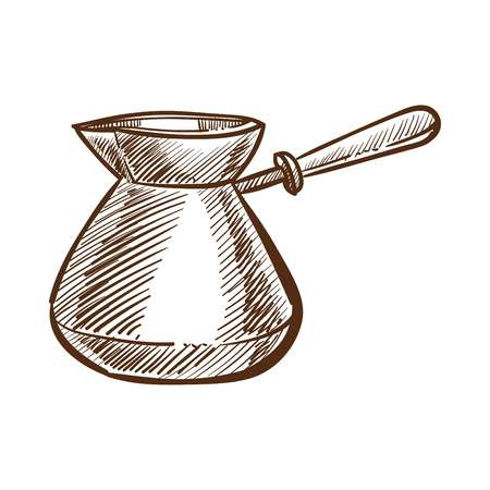 Traditional Turkish coffee preparation process monochrome sketch outline. Cezve made of metal with handle to cook tasty beverage. Oriental recepies of ethnic drinks isolated on vector illustration