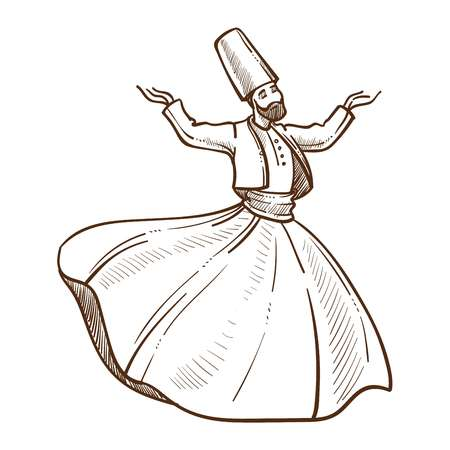 Traditional turkish dervish dances monochrome sketch outline. Man wearing costume made up of dress and jacket, high hat. Male whirling hands up giving performance isolated on vector illustration Çizim