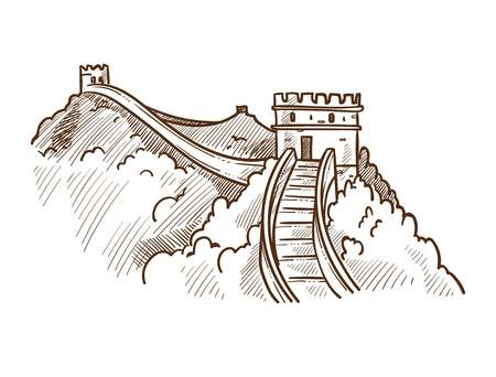 Great wall of China monochrome sketch outline. Famous landmark made of stone and concrete, nature surrounding of tourist attraction. Oriental wonder place to go sightseeing vector illustration