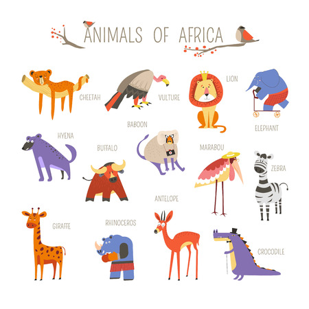 Cartoon African animals and birds for kids design. Vector funny zoo of cheetah panther and lion, elephant on skate and buffalo or giraffe, vulture or ostrich and crocodile with hyena and baboon