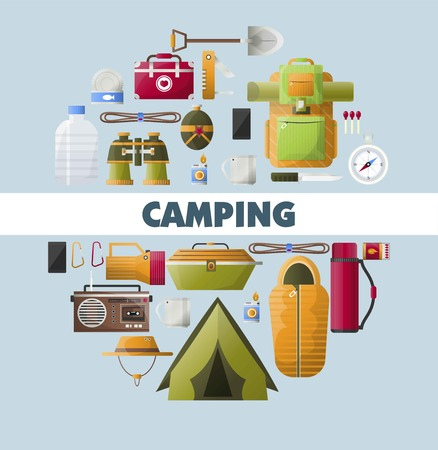 Camping equipment poster for scout hiking or mountaineering camp adventure. Vector backpack with spade, binoculars or water flask and food, compass or pocketknife and sleeping bag Illustration