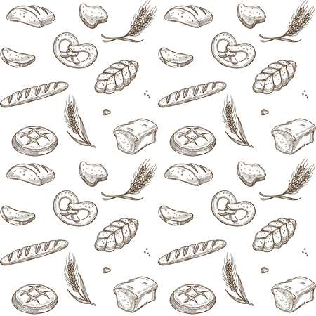Bakery bread sketch pattern background. Vector seamless wheat spike or pretzel bun and wheat bagel, croissant or buns and toasts for baker shop design