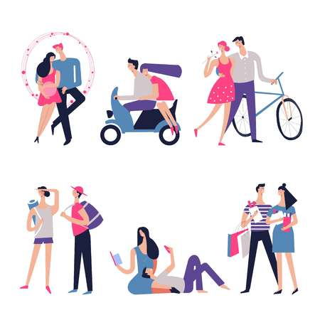 Couple in love or dating with romance relations. Vector young man and woman together in hearts or riding bicycle and motorcycle for honeymoon, girl and boy on travel adventure or shopping