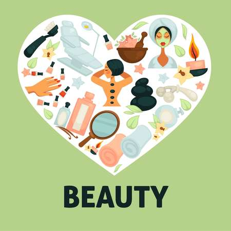 Beauty poster with women icons and heart containing spa procedures. Manicure and nail polish, creams and masks put on face. Fired candle giving aroma fragrance, relaxation vector illustration Illustration