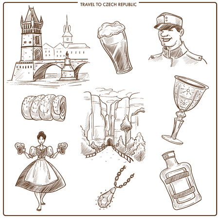 Czech Republic travel sketch symbols of Prague tourism landmarks. Vector collection of Czech soldier in Charles castle and bridge, Trdelnik cake and beer, Bohemian crystal glass and Becherovka drink