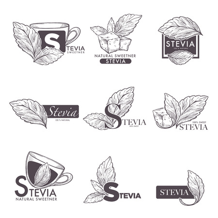 Stevia vector logo for food sweetener or sugra substitute of stevia leaf and tea or coffee cup
