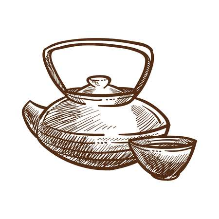 Teapot for making tea coffee monochrome sketch outline. Kettle for traditional hot healing beverage with cup mug set hand drawn elements. Drinking ceremony items isolated on vector illustration Illustration