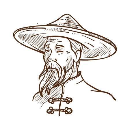 Chinese man wearing oriental traditional clothes monochrome sketch outline. Old male person in hat protecting head from sunshine. Hand drawn human of eastern nationality, vector illustration