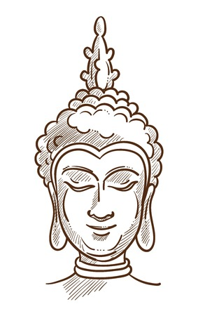 Budha Asian religion character monochrome sketch outline. Hand drawn image of head founder of Buddhism, Siddartha Gautama in calm state. Enlightened man prince from Nepal vector illustration