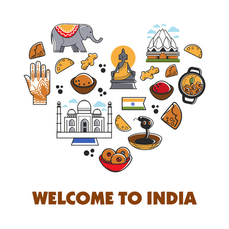 Welcome to India travel vector heart poster 向量圖像