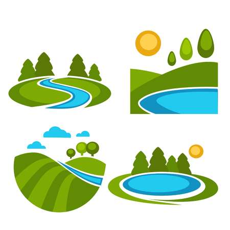 Lakes and nature landscapes set with sun. Park scenic images with pond of fresh water. Relaxation in countryside surroundings refreshing vacations isolated on white background vector illustration