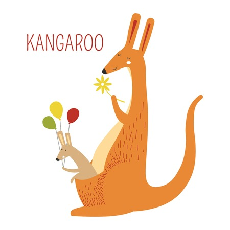 Kangaroo family of mother and baby book character 版權商用圖片 - 104836697