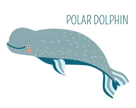 Polar dolphin cartoon childish charater for book Foto de archivo - 104836699