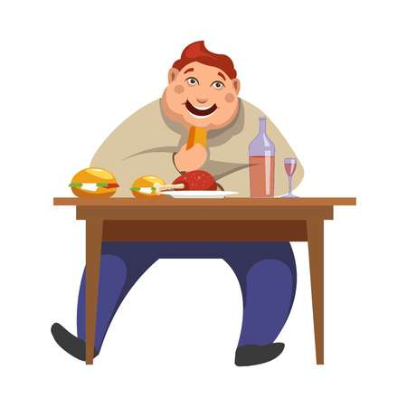 Gluttony or excessive eating and obesity addicted man of people bad habits. Vector boy sitting at table and eat lot of food and drinks
