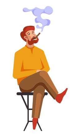 L'homme fume beaucoup de cigarettes ou les gens ont de mauvaises habitudes. Fumeur de garçon de vecteur ou accro à la nicotine