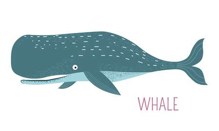 Heavy oceanic whale childish cartoon character