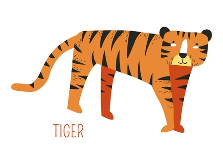 Tiger from jungle cartoon book childish character. Wild animal from rainforest picture from fairy tale for kids. Predator with stripes and specieas name sign isolated flat vector illustration.