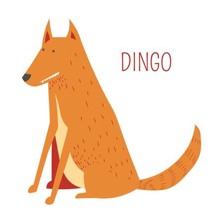 Dingo cartoon funny cute dog from vector Australian or New Zealand animals zoo collection for kids T-shirt clothes print Standard-Bild - 114937357