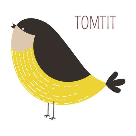 Tomtit wild bird childish cartoon book character