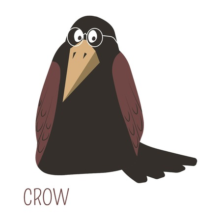 Crow in glasses childish cartoon book character. Black wild bird as symbol of wisdom. Animal species with large wings and beak from fairy tales and stories for kids isolated vector illustration. Illustration