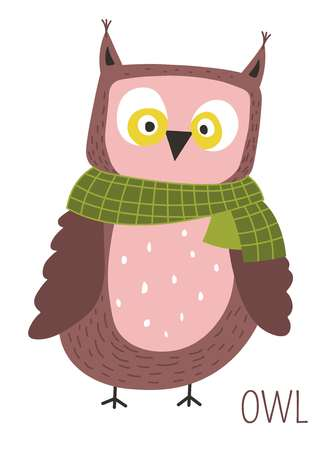 Owl with scarf childish cartoon book character. Wild bird with ridiculous face on small claws for fairy tales and stories. Animal species caricature with slanting eyes isolated vector illustration.