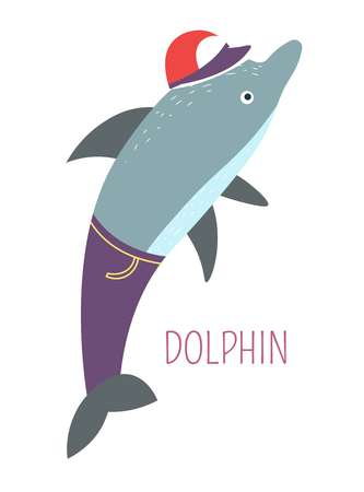 Dolphin in jeans and cap childish book cartoon character. Mammal that lives in water caricature. Humanized sea animal in clothes for fairy tales and stories for kids isolated vector illustration. Ilustração