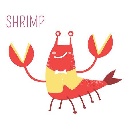 Shrimp in vest and bowtie childish book character Illustration