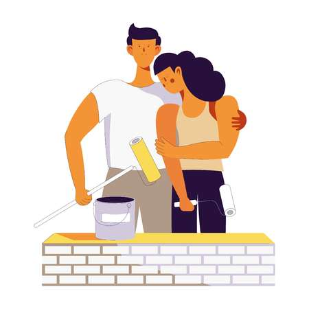 Vector young couple family on house building