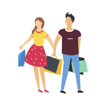 Couple on shopping with bags full of purchases. Man and woman in polka-dot dress walk with packs from shops and stores. Boyfriend and girlfriend with purchases isolated cartoon vector illustration.
