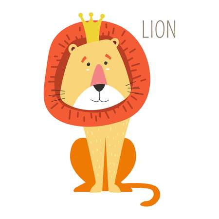 Lion king in crown with mane childish book character. Wild animal from savannah cartoon picture from fairy tale. Predator from Africa in accessory that symbolizes power isolated vector illustration.