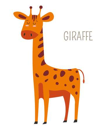 Giraffe with sleepy eyes childish book character. African animal with long neck, spotted fur, short tail and small horns. Exotic mammal from hot countries with hoofs cartoon vector illustration. Illustration
