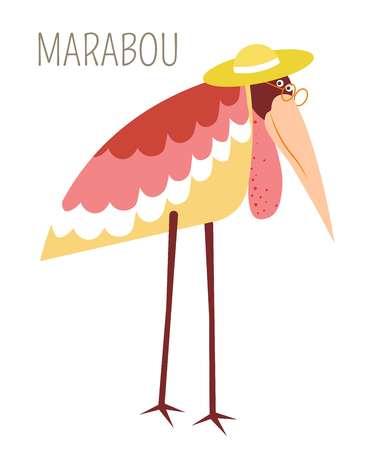 Marabou-Vogel im kindlichen Buchcharakter des Strohhutes. Storch mit rosa Gefieder in Brille und Kopfschmuck auf langen Beinen. Wildes humanisiertes Tierkarikaturbild mit Artnamen lokalisierte Vektorillustration.