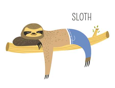Sloth in jeans on branch childish cartoon book character. Lazy animal with claws and thick fur in pants sleeps on tree. Wild species from jungle picture for fairy tale isolated vector illustration. Ilustração