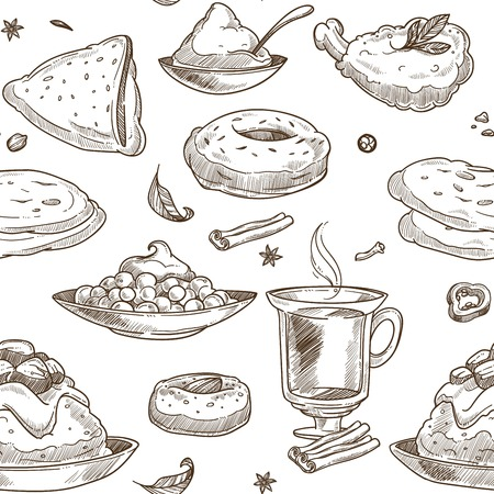 Indian cuisine sketch pattern background. Vector seamless design of traditional India food chicken tandoori grill, curry rice or pilaf vegetables and samosa or masala soup and tea with saffron desserts