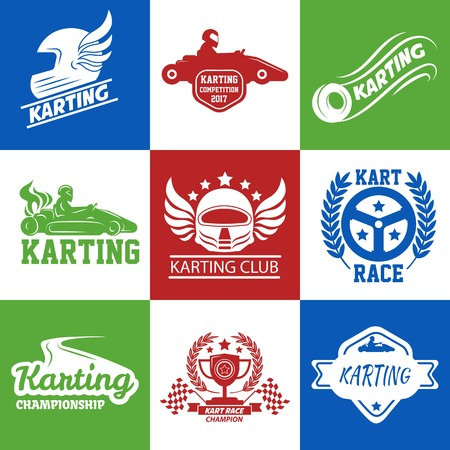 Karting or kart car racing vector icons