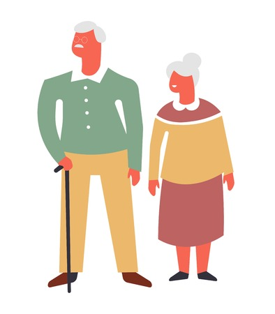 Old couple on walk with cane cartoon character. Husband and wife with grey hair. Grandmother in dress and grandfather with stick. Granny and grandpa together isolated flat vector illustration.
