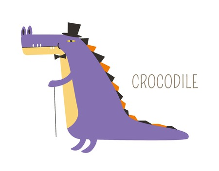 Crocodile that has purple skin in tall hat and bowtie with cane. Childish animal character dressed like gentleman. Wild creature in classic outfit. Amphibian with accessories vector illustration.