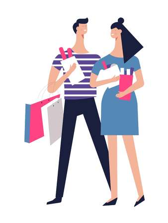 Couple on shopping with packs of clothes and food. Girlfriend and boyfriend carry packages from boutiques and grocery store. Man and woman in love daily routine isolated cartoon vector illustration.