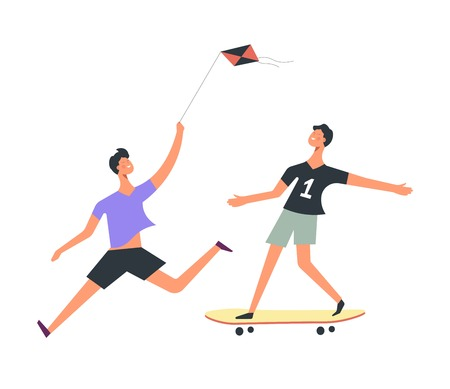 Boy flies kite while friend rides skateboard set. Children spend time outside with toys. Kid run fast and teen on board. Summer outside activities for teenagers isolated cartoon vector illustration. Иллюстрация
