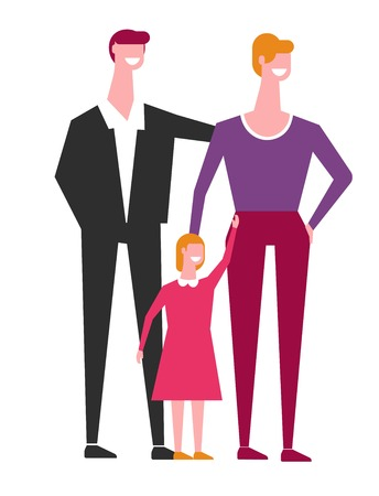 Family of mother and father with little daughter. Dad in classic suit. elegant mother and girl in dress. Parents with kid stand together like in pose for photo isolated cartoon vector illustration.