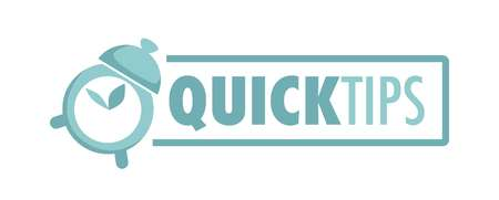Quick tips logotype with alarm clock and big sign